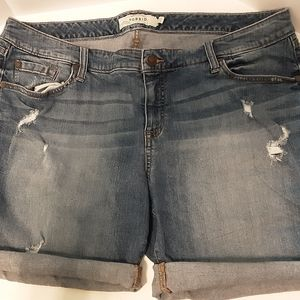 Torrid distressed denim shorts.